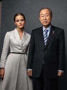 Love the blazer-type dress. UN Women Goodwill Ambassador Emma Watson and UN Secretary-General Ban Ki-moon backstage at the #HeForShe campaign launch.