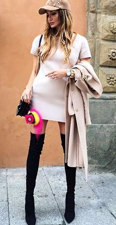 #pretty #winter #outfits / Light Pink Dress // Light Pink Coat // Black Suede Ober The Knee Boots