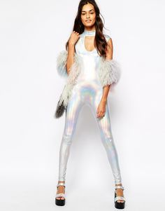 Image 4 of Story Of Lola Festival Sleeveless Unitard In Metallic Iridescent