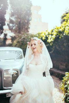 vera wang wedding dress + flower crown
