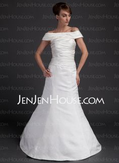 Wedding Dresses - $117.29 - A-Line/Princess Off-the-Shoulder Floor-Length Satin Wedding Dresses With Ruffle (002012569) http://jenjenhouse.com/A-Line-Princess-Off-The-Shoulder-Floor-Length-Satin-Wedding-Dresses-With-Ruffle-002012569-g12569