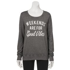 """Juniors' """"Weekends Are For Good Vibes"""" Graphic Sweatshirt, Girl's, Size:"""