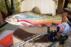 """Brook Trout 26""""  detailed chainsaw carving wooden fish sculpture rustic lake lodge decor indoor outdoor wall mount home accent taxidermy art by oceanarts10 on Etsy"""