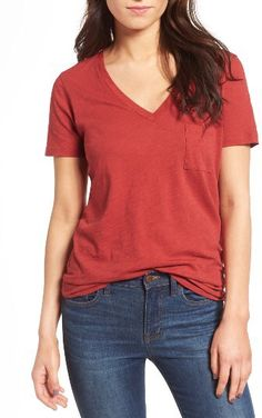 Women's Madewell 'Whisper' Cotton V-Neck Pocket Tee