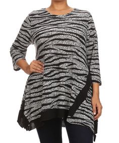 Black & White Zebra Tunic - Plus #zulily #zulilyfinds