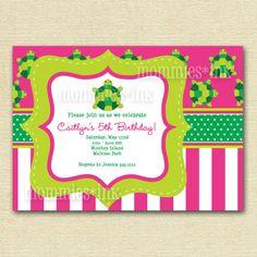 Preppy Turtle Birthday Party Invitation
