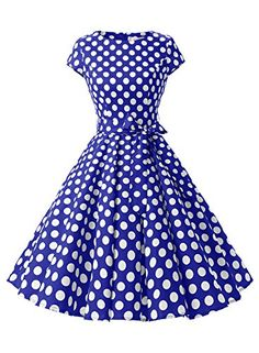 2cdbb64a26b Amazon.com  Dressystar Women Vintage 1950s Retro Rockabilly Prom Dresses  Cap-sleeve  Clothing