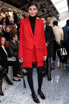 Giovanna Battaglia in Givenchy F10 coat at Chloe F13 RTW