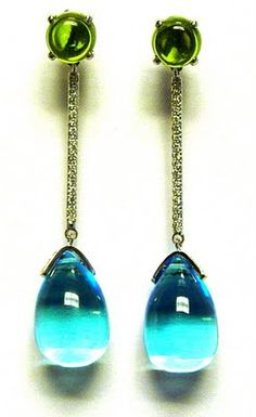 Blue topaz and peridot cab drop earrings with diamonds in 18k white gold - Goshwara