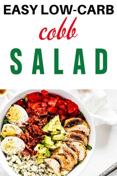 I really want to try new low carb salad recipes recipes and this Easy Low Carb Cobb Salad  looks so good! I can't wait to cook this easy meal for my family.  It looks like the perfect keto dinner recipe.  SO PINNING! #kickingcarbs #lowcarb #keto #lchf #ketorecipes #Ketosalad Low Carb Summer Recipes, Salad Recipes Low Carb, Easy Dinner Recipes, Keto Recipes, Lunch Ideas, Meal Ideas, Light Summer Meals, Low Carb Vegetables, Meal Prep For The Week