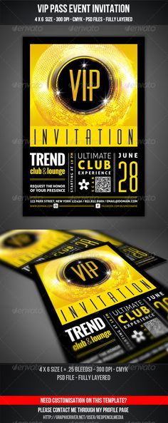 VIP Club Event Invitation  #GraphicRiver        VIP Club Event Invitation     VIP Club Event Invitation  Features and technical specs: • print size: 4×6 inches (Portrait) • bleed area: 0.25 inches • resolution: 300 dpi • color format: CMYK • template file type: Photoshop .psd  Free fonts used in design
