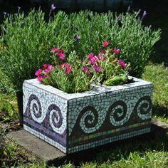 cinder block Flower Pots | cinder block garden planter purple and white wave motif this cinder ...