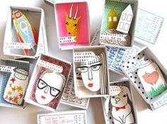 Such a great idea for collaborative art project. Kim Welling: New Instant Comfort Pocket Boxes. Matchbox Crafts, Matchbox Art, Diy And Crafts, Crafts For Kids, Arts And Crafts, Paper Crafts, Collaborative Art, Little Boxes, Teaching Art
