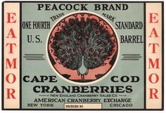 #Vintage #original new england cranberry label #peacock proud bird 1930s cape cod,  View more on the LINK: 	http://www.zeppy.io/product/gb/2/232082533818/