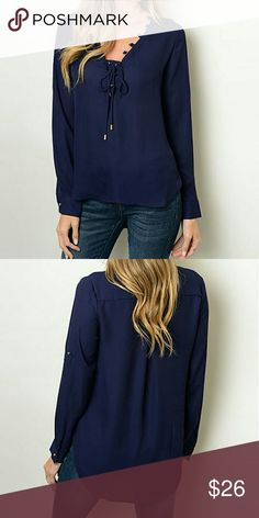 Navy sheet top Navy sheet top with gold detailing ... long sleeve can convert to 3/4 sleeve longer in the back  **1-4bin  ( storage note to self ) Chupchick  Tops