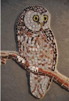 Tawny Owl Owl Mosaic, Mosaic Tile Art, Mosaic Birds, Mosaic Artwork, Mosaic Diy, Mosaic Garden, Mosaic Crafts, Mosaic Projects, Stained Glass Projects