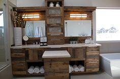 reclaimened wood vanity | Reclaimed Wood Vanity with Quartz Countertops