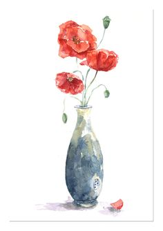 Original watercolor painting Poppy