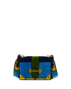 PRADA Cahier Trompe L'Oeil Velvet Shoulder Bag, Blue. #prada #bags #shoulder bags #leather #velvet #lining #