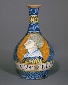 Apothecary bottle (fiasca da farmacia)  Date: ca. 1530–40 Culture: Italian, Castelli Medium: Maiolica (tin-glazed earthenware) Dimensions: Height: 9 5/8 in. (24.5cm)