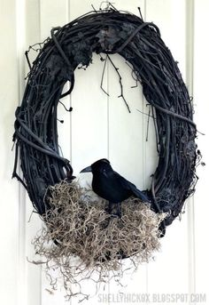 This wicked wall hanging requires only a few ingredients — a grapevine wreath…