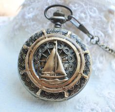 Sailboat mechanical pocket watch, men's pocket watch with a sail boat mounted on front cover