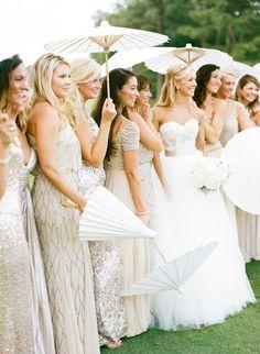 vintage wedding ideas - sparkly glittery bridesmaids gowns