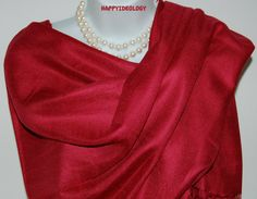 Cranberry Red Pashmina Scarf.Red  by HappyIdeology on Etsy