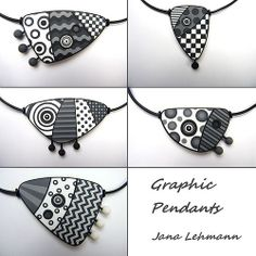 Graphic Pendants by Jana Lehmann. All of Jana's work makes me so happy; it's very joyful. It takes me back to the 80s, and new wave, and dancing, and finding the funnest and funniest clothes to wear and having hot pink hair and one white stocking and one black stocking and one black pump and one white pump and a harlequin dress. Jana is the only polymer artist who evokes an entire time period for me!