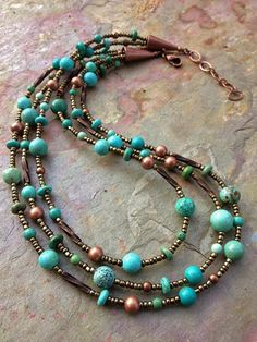 Turquoise and copper multi strand necklace