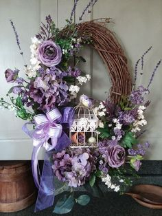 This elegant Spring oval lavender grapevine wreath is available from my Etsy shop or FB page. Spring Door Wreaths, Easter Wreaths, Summer Wreath, Holiday Wreaths, Purple Wreath, Lavender Wreath, Floral Wreath, Fabric Wreath, Diy Wreath