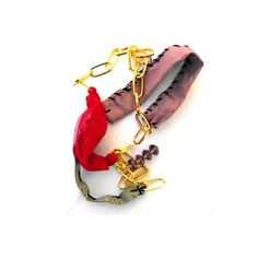 Party fabric  necklace gold pink and red with chain by lillicose, $28.37