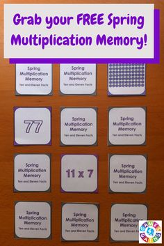 This FREE Spring Multiplication Game makes practicing ten and eleven multiplication facts fun! Included are 45 memory cards for students to match the multiplication array, multiplication fact, and product. This is a perfect activity for small groups and centers in March, April, and May!