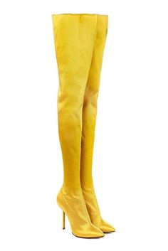 These canary yellow boots from Vetements are styled in glossy satin and cut with a figure-sculpting thigh-high shaft. The pin-thin stiletto heel adds sensuality and height in spades - keep them in focus with a high hemline or youthful cut-offs. Tight High Boots, High Heel Boots, Heeled Boots, Yellow Boots, Yellow Heels, Neon Heels, Stiletto Heels, Mellow Yellow, Color Yellow