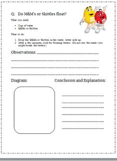 Scientific Method - Classroom Freebies Too: M Science experiment Science Experiments Kids, Science Fair, Science Lessons, Science Activities, Science Projects, Life Science, Candy Experiments, Science Ideas, Earth Science