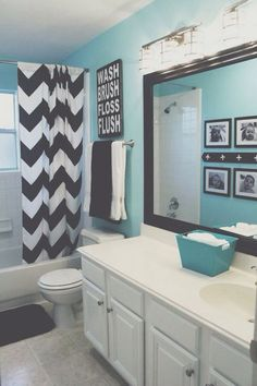 light teal bathroom