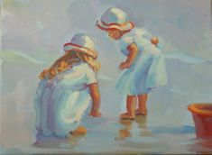 PLAYMATES Two girls at play on the beach  9 x12 by LucelleRaad