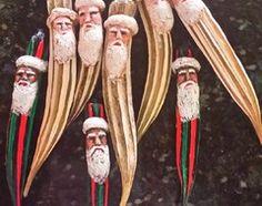 Okra Pods with salt-dough Santa Faces make cute Ornaments