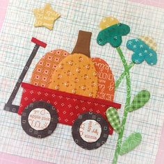 Quilt Market sneak peek number 2...Autumn Love Little Red Wagon Block all ready for applique!! ❤️✂️ #beeinmybonnet #autumnlovesewalong #autumnlovefabric #sewsimpleshapes #applique #rileyblakedesigns #littleredwagon #pumpkinquilt #pumpkin #fallquilt