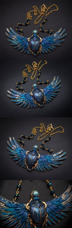#scarab #egypt #necklace #blue