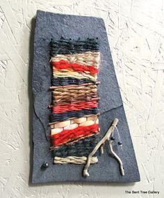 Miniature Fiber Art Weaving by Marcia Whitt of The Bent Tree Gallery on Etsy