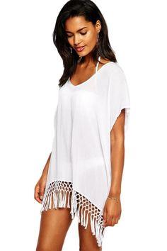 Beyaz Şık Tasarım Plaj Elbisesi - Plaj Ürünleri 398434 | zet.com