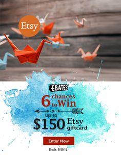 Etsy Gift Card Giveaway  click here http://www.ebates.com/rf.do?referrerid=G3mpsSJ22qjzZImCNBlmJw%3D%3D&eeid=26471