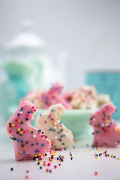 Vegan Mother's Frosted Pink and White Animal Cookies . . . #vegan #mothers #animals #circus #bunny #bunnies #pink #white #sprinkles #whitechocolate