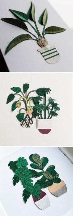 Paper craft cacti by Lissova_craft paper art // paper plants // papercraft plants