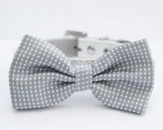 Gray Dog Bow Tie , Cute Dog Bowtie, Wedding Dog Collar- with high quality leather collar