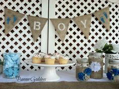 Baby Boy Burlap and Blue Decor with white flowers Baby Boy Shower, Baby Showers, Baby Shower Flowers, Shower Time, Fitness Gifts, Vintage Theme, Rustic Theme, Baby Shower Decorations, New Baby Products
