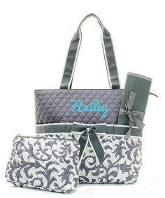 Personalized Damask Floral Quilted 3pc Diaper Bag - Gray