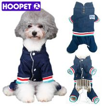 HOOPET Dogs Cats Winter Denim Jumpsuit Fleece Lined Jeans Coat Christmas Party Costumes Sweater Clothes Apparel(China)