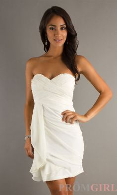 short white dresses | Short White Strapless Dress